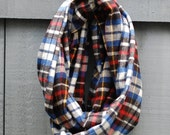 Black, Blue and Red Flannel Infinity Scarf