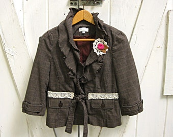Brown plaid upcycled jacket, small bohemian jacket, upcycled Ann Taylor Loft jacket, altered clothes by Lily Whitepad