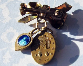Vintage Brooch: Bow with Enamel Blue Heart & Pendant of Virgin Mary