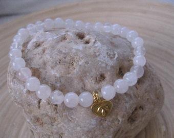 Gold Heart Charm Bracelet, Rose Quartz Bracelet, Love Bracelet, Rose Quartz Beaded Bracelet with Gold Heart Charm, Dainty Jewelry