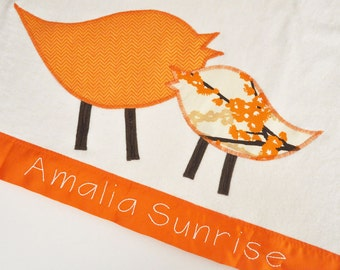Personalized Organic Baby Blanket with Retro Birds -- Orange and Brown