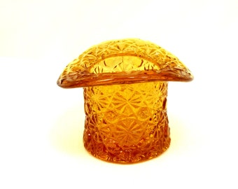 Vintage Fenton Amber Glass Daisy and Button Design Top Hat