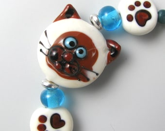 Cat Lover Bracelet Paw Print handmade lampwork glass beads siamese turquoise