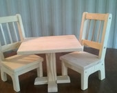Handmade Rectangle Table and 2 Chairs for 18 inch Doll