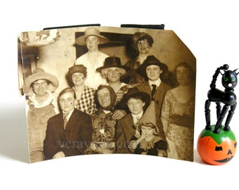 Vintage Halloween Party Photo Antique Photograph Cross Dressing Costumed Partygoers