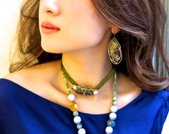 Hidden Trail - Necklace with Amber, Kyanite, Aquamarine, Citrine, etc. (HT-8)