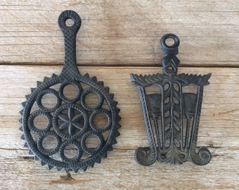Vintage Cast Iron Metal Hot Plates, Set of 2
