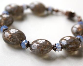 Swarovski Crystal Lampwork Glass Copper Bracelet - Copper Blues