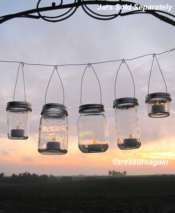 Easy Hang Jar Lids DIY Wedding Hanging Candles or Flowers, Hangers only, No Jars