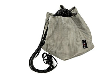 Vegan handbag gray lightweight evening bag in small size - Japanese bag Made to order.