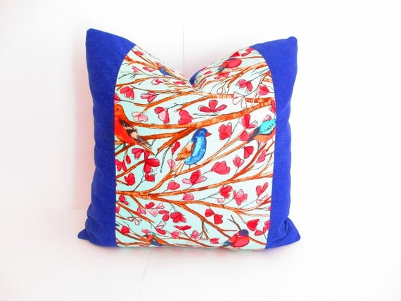 Blue and red pillows square pillow decorative by for Red and blue pillows