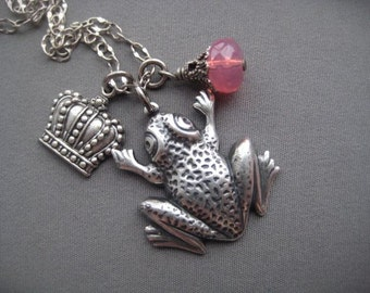 Charm Necklace - Frog Necklace - Frog Prince - Frog Jewelry - Girlfriend Gift - Romantic Jewelry - Fairy Tale Jewelry - Kiss the Frog