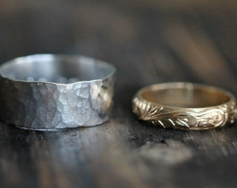 His and Hers Couples Rings- 14K Gold Filled & Wide Recycled Silver Band Set w Secret Message - Modern Meets Classic, R055