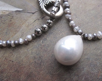 freshwater pearls and pearl solitaire - the paloma necklace