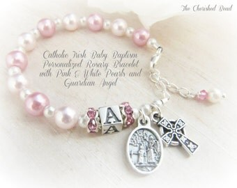 Catholic Irish Baby Personalized Rosary Bracelet with Pink and White Pearls, Pink Rhinestones and Guardian Angel