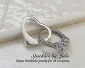 Floating Heart Pendant V2 - Sterling Silver Heart Necklace, Medium Ring Holder, Love, Valentine's, Wedding Gift, Bridal