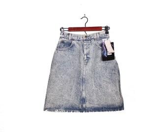 Vintage 80s Essentials Sport White Lightning Denim Jean Skirt - Women M - Deadstock NOS New with Tags
