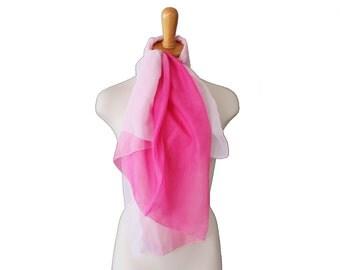 Vintage 80s Huge Pink and White Ombre Sheer Scarf - Bijoux Terner 10 Dollar Sale