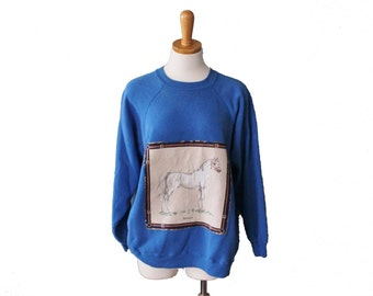 10 Dollar Sale Vintage 90s Arabian Horse Iron On Sweatshirt - Blue - Puffy Paint - Women XL