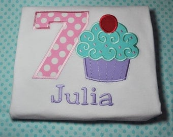 Cupcake Birthday Shirt Long or Short Sleeve Girls Any Number 1-9