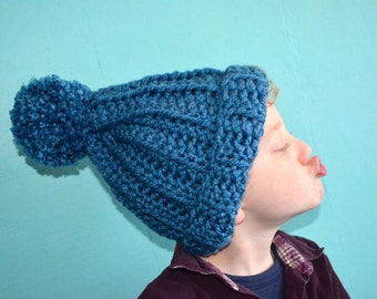 Crochet pattern : mega pom pommy hat for children - teens and adults