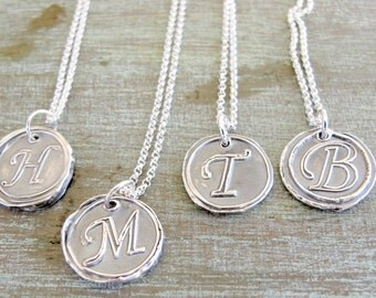 Wax Seal Necklace, Initial, Monogram, Handmade Jewelry, Fine Sterling Silver, Wedding Gift, Bridesmaid, Mother's Gift