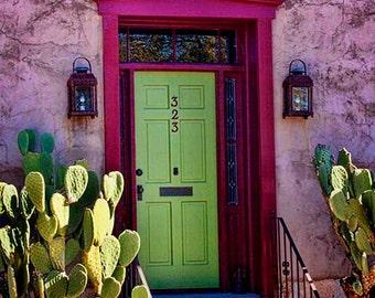 Tucson Barrio door, antique door, green door, old doors, Mexican decor, southwestern, home decor, old door photo, Mexican doors, photograph