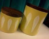 Vintage Yellow Aluminum Kitchen Canisters with Wood Lids