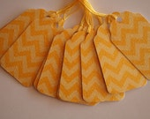 Yellow Glittered Chevron Gift Tags (10)