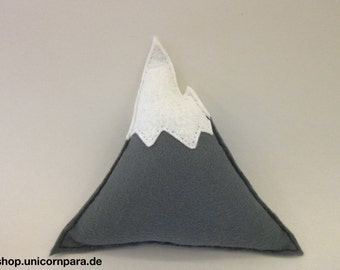 Small Plush Decorative Grey and White Felt Mountain