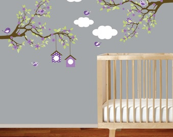 Vinyl Wall Decal  Branch wall decal - Baby girl nursery tree branch decal flowers birds wall decal sticker
