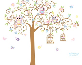 Children Wall Decal Tree Swirl Flower Tree with Owls and Birds Baby Nursery Vinyl Wall Decal Swirl Tree