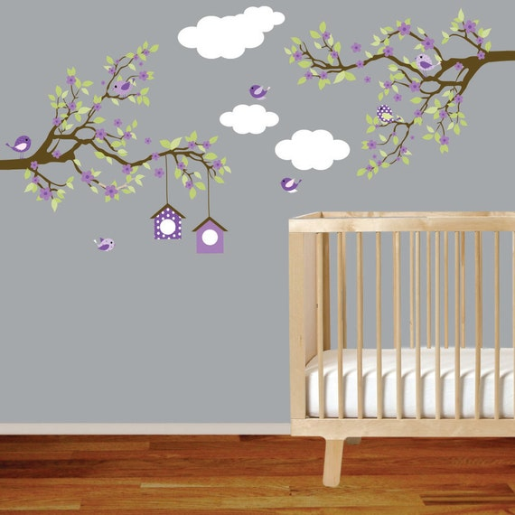 Vinyl wall decal branch wall decal baby girl nursery tree - Stickers chambre bebe arbre ...