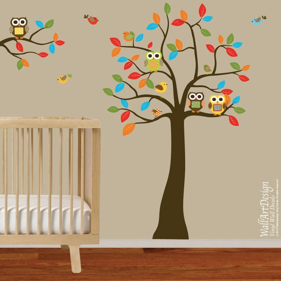 Boys Nursery Tree and Branch Vinyl Wall Decal Owls Birds Custom Name