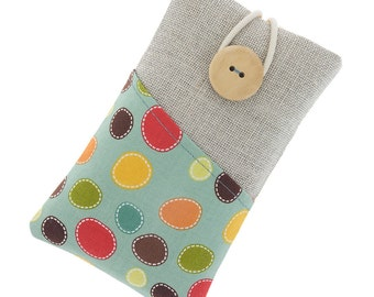 iPhone 6 fabric case, iPhone 6S pouch, iPhone 6 Plus cover, iPhone 6S Plus case, iPhone SE case, iPhone 5 sleeve, iPod case, colorful dots,