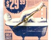 Small square wall clock. Vintage advertisement.  Woman in a bath tub.  Bathroom clock.