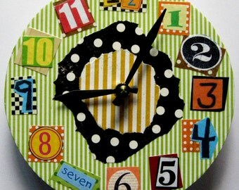 Wall clock.  One-of-a-kind unique collaged wall clock. Funky time