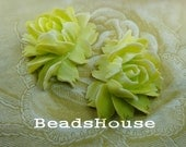 34-00-Apl  2pcs Hight Quality Cabbage Rose Cabochon - Apple Green /  White Edge