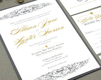 Fleur De Lis Wedding Invitations, Gray And Gold Wedding Pocket Invite Set,  French Baroque