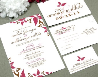 Leaves Wedding Invitation Set Autumn Wedding Invitations Modern Leaf Fall Wedding Invites Pocket Suite Brown and Pink by RunkPock Designs