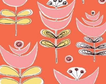 SALE 1/2 Yard Organic Cotton Fabric - Monaluna Urban Patch - Cut Flowers