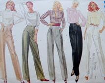 Vintage Vogue Basic Design 2760 -- 80s Pants -- 1980s Straight Leg Pants -- XS Small Waist 24