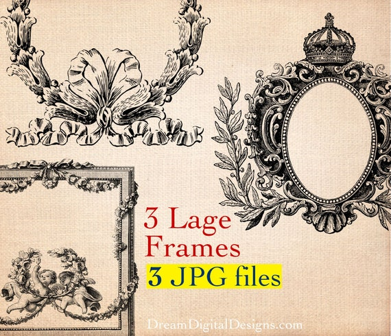 Frames Printable Images, Digital Background Graphics 3 Large Ornate Vintage Frame Downloads