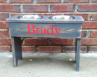 """Distressed Personalized Dog Feeder -14""""' Tall - Two 2 Quart Bowls"""