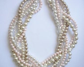Blush pearl necklace Custom order necklaces braided twisted chunky statement pearl necklace bridesmaid bridal
