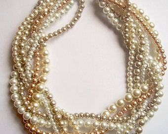Gold pearl necklace Custom order necklaces braided twisted chunky statement pearl necklace bridesmaid bridal