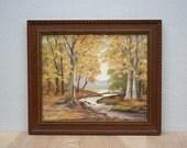 RESERVED FOR SUZANNE **** Vintage Framed Original Oil Painting, Autumn Landscape, Creek, Forest