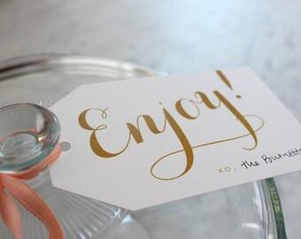 enjoy gift / food tags - gold, 12 qty.