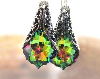 Pink Green Crystal Earrings RARE Swarovski Crystal Victorian Style Jewelry Green Dangle Drop Earrings Colorful Antique Silver Earrings
