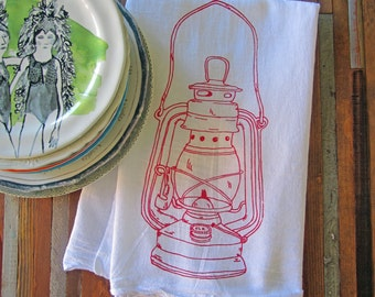 Tea Towel - Screen Printed Flour Sack Towel - Absorbent Kitchen Towel - Handmade - Vintage Camping Lantern - Eco Friendly Cotton Towel